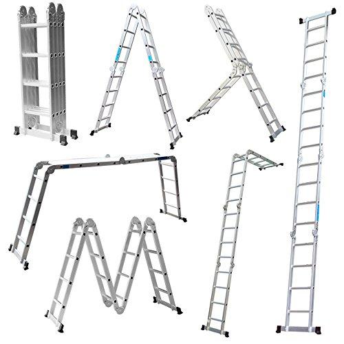 LARS360 6 en 1 Escalera de Tijera 4.7M Escalera Multifunción Plegable Escalera Articulada con Plataforma 4x4 Escalera de aluminio Escalera combinada de alta calidad, Cargable hasta 150 kg