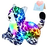 SpecialYou LED Stuffed Panther Sitting Posture Light up Leopard Soft Plush Toy Glow in The Dark Birthday Children's Day Gift for Toddler Kids Girls Boys, Black and White, 9 inches.