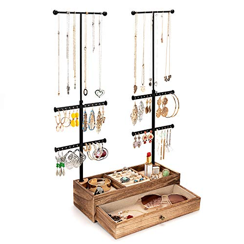 Emfogo Jewelry Organizer Stand Wood Basic Jewelry Drawer Storage Box with Double Rods & 6 Tier Jewelry Tree Stand Holder for Necklaces Bracelet Earring Ring Display(Carbonized Black)