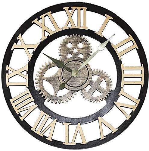JJDSN Reloj de Pared Redondo Retro Mudo Reloj de Pared de Madera Retro Reloj de Pared Decoración de Viento Industrial Sala de Estar Dormitorio Bar Oro Decoración de números Romanos Regalo sin Bate