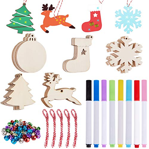 Ywlake Christmas Ornament to Paint, Unfinished Blank Wood Wooden Slices Cutouts for Christmas Tree Hanging DIY Crafts Decor Decorations (50pcs)