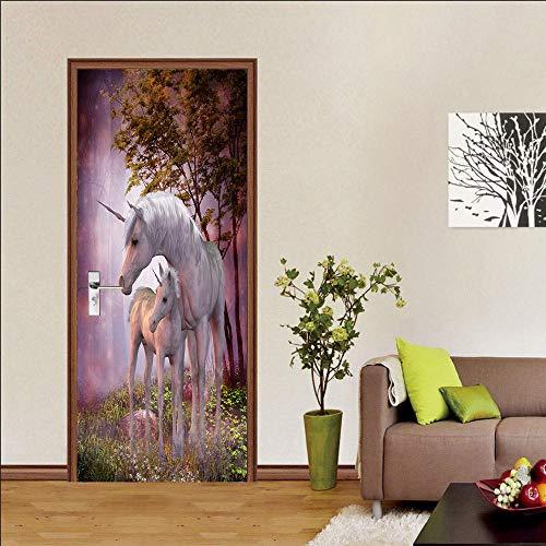 lege 3d deur sticker behang dieren paard deco deur poster deur foto glas binnendeuren slaapkamer