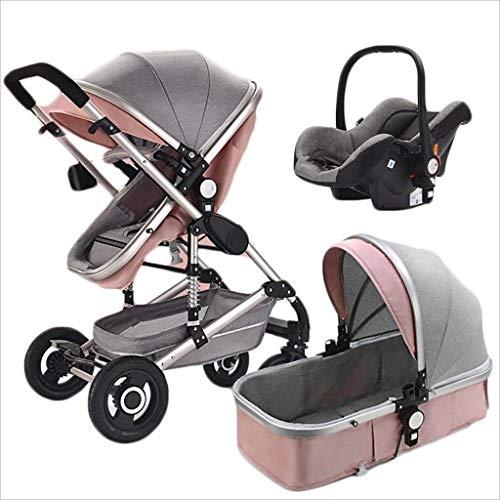 MAOSF Pushchairs stoelen hoog landschap twee-weg schokbestendige wandelwagen, baby vervoer kan zitten liggende opvouwbare babyproducten kinderwagens kinderwagens, 3-in-1 roze