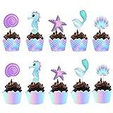 40 unidades de decoración de tartas de sirena, Cupcakes de Magdalenas Decoración y Cupcake Wrappers,Cupcake Toppers Wrappers para Infantiles Fiestas de Cumpleaños Decoración Suministros