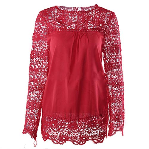 Herfst Dames O-hals Chiffon Kanten Blouse Lange Mouw Bloem Design Holle Tops Elegant Patchwork Dames Shirts Plus Maten