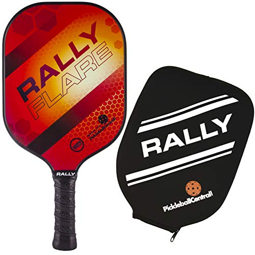 Rally Flare Graphite Pickleball Paddle - Red | Polymer Honeycomb Core, Graphite Face | Lightweight Control, Power, Spin | Paddle Cover Included in Bundle | USAPA Approved