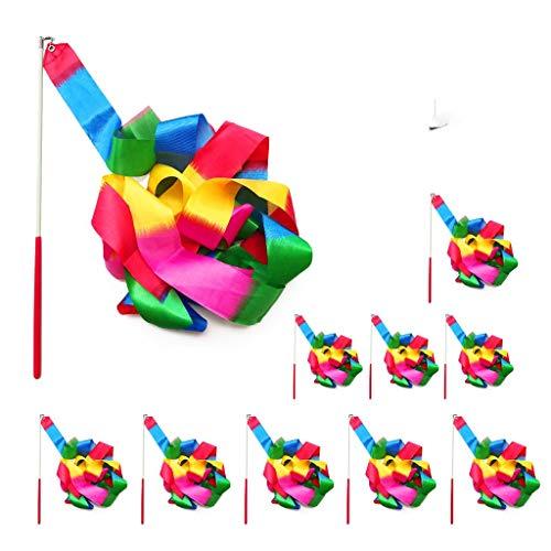 ZARRS Regenbogen Band,Tanzbänder Streamer 10 Stück 2 Meter Rhythmische Gymnastik Ribbon für Kinder Künstlerisches Tanzen Baton Wirbelndes Training
