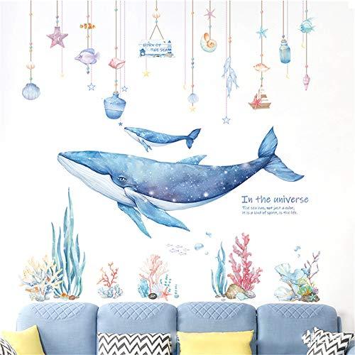 Wandtattoo Kinderzimmer Wal & Koralle,(3 Stück in einem Satz) Wandaufkleber Wandkunst Wasserdichte Wandsticker Kinder Aufkleber Wand Deko für Babyzimmer