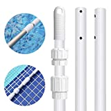 Vikii Store 16 Foot Swimming Pool Pole Telescopic Aluminum Professional Fits Pool Net Skimmer Rake Vacuum Head Brush Cleaning Equipment Heavy Duty, Adjustable 3 Piece from 6 to 16ft Extension