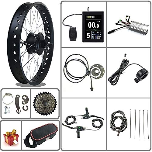 36V / 48V 500W Kit de conversión de Bicicleta eléctrica para Bicicleta de Nieve/neumático Gordo Motor de Cubo Giratorio Trasero de Rueda de 20/26 Pulgadas con Pantalla LCD8S(Color) (Negro, 26inch)