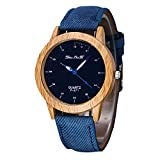 MJARTORIA Damen Holz Maser Armbanduhr Einfach StilDenim Armband Damenuhr Quarz Analog Uhr Mode Blau (Blau)