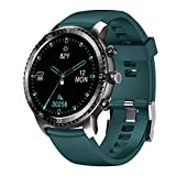 Tinwoo Smart Watch for Android/iOS Phones, Support Wireless Charging,Bluetooth Health Tracker with Heart Rate Monitor, Digital Smartwatch for Women Men, 5ATM Waterproof (TPU Band Green) (Renewed)