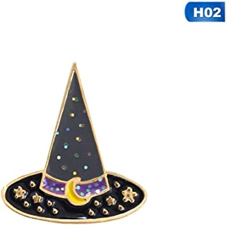 1 PC Halloween Witch Magic Hat Pot Wand Brooch Halloween Drop Oil Brooches Jewelry Clothes Accessories for Women Girls
