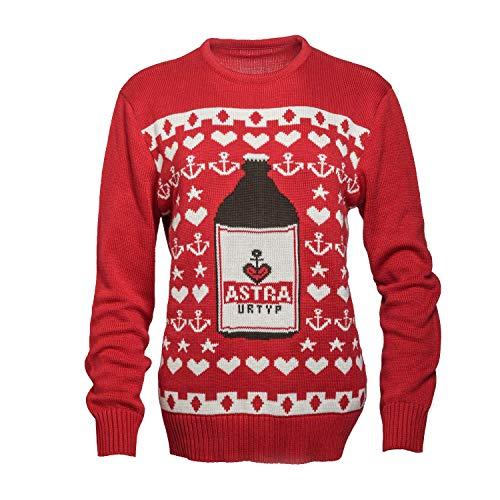ASTRA Strick-Pullover, Weihnachts-Pulli, rot, mit Knollen-Motiv, Sterne und Anker, St. Pauli, für Männer und Frauen (M)