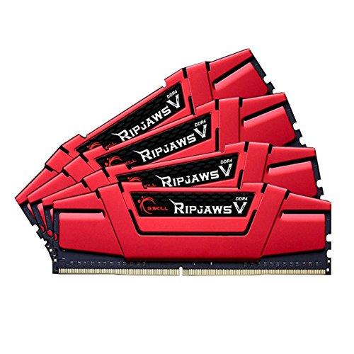 G. Skill–memoria PC–G. Skill Ripjaws 5Series Rosso 16GB (4x 4GB) DDR43000MHz CL15–Kit Quad Channel 4moduli di RAM DDR4PC4–24000–F4–3000C15q-16gvrb (10anni garanzia por G. Skill)