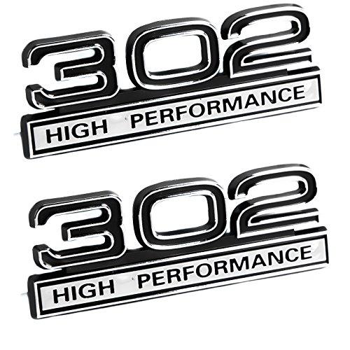 302 5.0 Liter Engine High Performance Emblems in Black & Chrome - 4' Long Pair