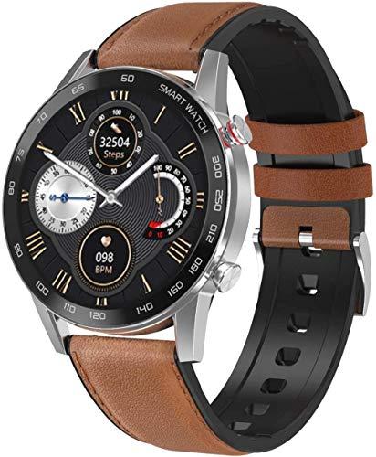 Reloj inteligente 1.3 Bluetooth, pantalla táctil, impermeable, IP68, monitor de fitness, podómetro, cronómetro, relojes deportivos con monitor de frecuencia cardíaca, correa marrón