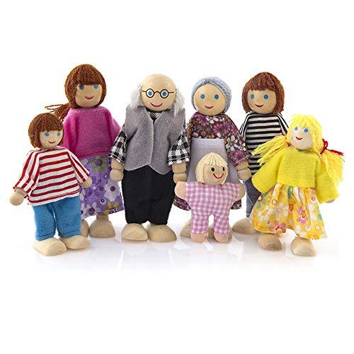 Lifreer Case delle Bambole 1 Confezione Casa delle Bambole in Legno Casa delle Bambole Set di 7 Persone Casa delle Bambole Accessori per la casa delle Bambole Bambini Giocattoli per Bambini