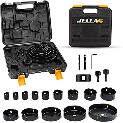 Hole Saw Set, Jellas 20PCS Hole Saw Kit with 14Pcs Saw Blades, General Size 3/4