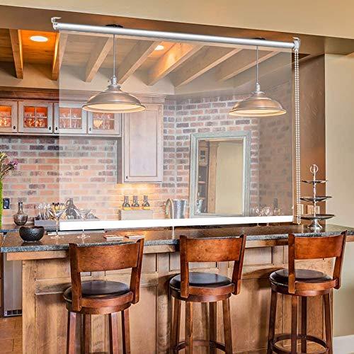 Lqdp Estores Enrollables Persianas Enrollables Transparentes de Oficina de Restaurante Interior - 145cm/125cm/85cm de Ancho, Cortina de Rodillo Transparente de PVC con Hardware, Fácil de Instalar
