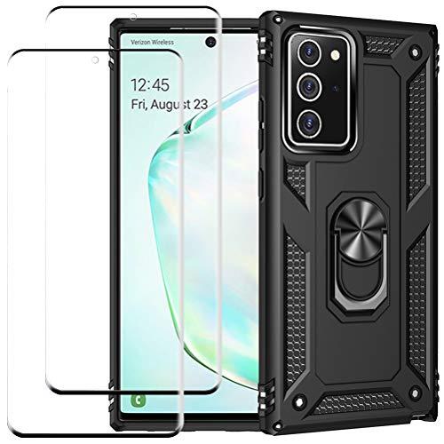 kinnter Kompatible mit Samsung Galaxy Note20 5G Hülle Rüstung Silikon Stoßfest Handyhülle Ständer Schutzhülle mit 2 Stück für Note 20 5G Gehärtetes Glas Screen Protector