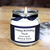 Luxury Personalised scented candle with the text of your choice - Happy Birthday - 18th, 21st, 30th 40th 50th etc - Merry Christmas - Wedding - Or any other message - 3.5oz - 26hr