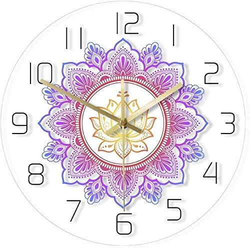 LTBWFDC Mandala y Lotus Reloj de Pared Moderno OM Studio...