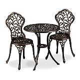 Relaxdays Balkonmöbel Set, 3-teilig, Balkontisch mit 2 Stühlen, verziert, Aluminium, Bistrotisch HxD: 65x60 cm, Bronze
