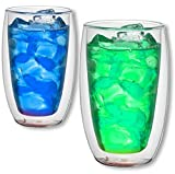 1aTTack.de 833376 Trink/Thermo-Glas 300 ml doppelwandig Modell Color für Heiß- und Kaltgetränke,...