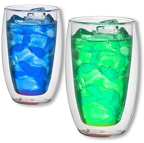 1aTTack.de 833376 Trink/Thermo-Glas 300 ml doppelwandig Modell Color für Heiß- und Kaltgetränke, 2-Stück