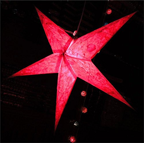 Xingyue Mythology Bricolage Papier Fait Main Abat-Jour Fleur Pentagramme Printemps Festival Lanterne Thé Bar Abat-Jour Dongba Lampe De Papier IntéRieur DéCoration, Rose Red