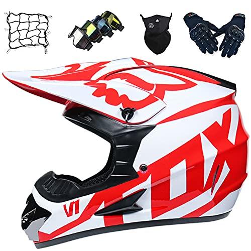 Aidasone Casco de Motocross Niños, YEDIA-01 Casco Integral con Gafas/Guantes/Máscara/Red de Bungy, Casco de Protección Unisex para Motocicleta, con Diseño Fox,L