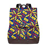 mochila de cuero para mujer Women Backpack Purse Ecuador Flag Artascope Flower Waterproof PU Leather Anti-theft Schoolbag Lightweight Rucksack Travel bags
