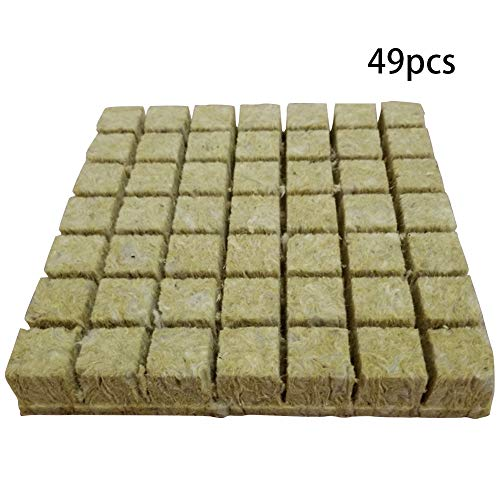 Yangxue ckwool Cubes Multifunction Media Serre Hydroponic Grow Mini Planting Compress Base ocks Agricultural Garden Soilless Culture Practical Ventilative(1.5 Pouces 49 pcs)