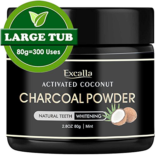 Excalla Activated Charcoal Teeth Whitening Powder - Natural Coconut Charcoal Toothpaste for Man/Women Raw Organic Food Grade 2.8oz/80g