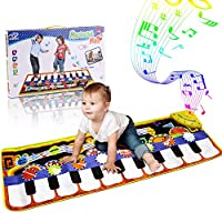 RenFox Kids Musical Mats, Music Piano Keyboard Dance Floor Mat Carpet Animal Blanket Touch Playmat Early Education Toys for Baby Girls Boys(43.3x14.2in) [並行輸入品]