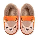 Little Kids Boys Girls Warm Slippers Children Cartoon Animal Kids Winter Warm Indoor Outdoor Household Shoes Deer Orange 10-11 Toddler