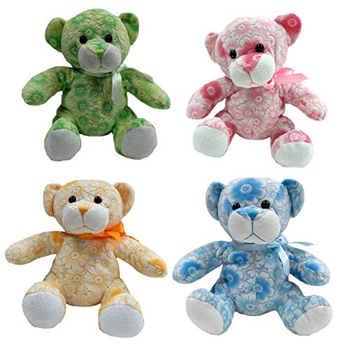 Floral Teddy Bear Stuffed Animal Plush, 10' (A Set of 4)