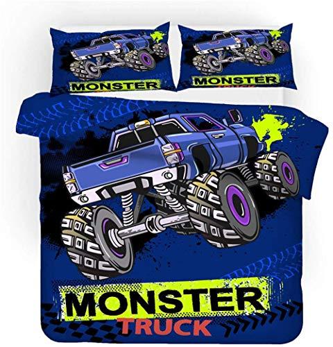 SK-LBB Juego de ropa de cama Monster Trucks, microfibra, fácil de limpiar, incluye 1 funda nórdica y 2 fundas de almohada, regalo de Navidad y Año Nuevo (L6,140 x 210 cm + 2 x 80 x 80 cm)