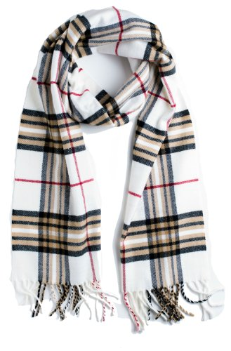 Plum Feathers Super Soft Luxurious Cashmere Winter Scarf Ivory Plaid