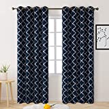 BYSURE Blackout Curtains Drapes 52 x 96 Inch Long 2 Panel Sets, Thermal Insulated Grommet Curtains for Bedroom Window Living Room Sliding Glass Door, Moroccan Geo Pattern Printed Curtains (Navy Blue)