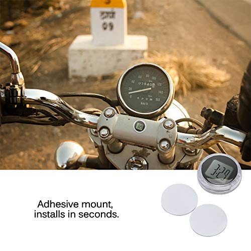 TopHGC Universelle Mini-Digitaluhr, Mini-Motorraduhr, wasserdichte aufklebbare Motorraduhr