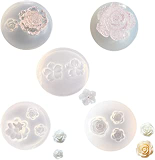Mulukaya 5Pcs Mini Flower Resin Silicone Molds Jewelry Making Tools Casting Molds for DIY Craft Keychain Necklace Earrings Project