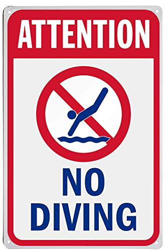 "LASMINE ""Attention – No Diving""-Schild, Pool-Schild, kein Tauchen, Schwimmen, Warnung, hohe Kosten, kostenfreies Parken, Halterung, Vorsicht chemischer Sicherheit, Geschenke, 20,3 x 30,5 cm"