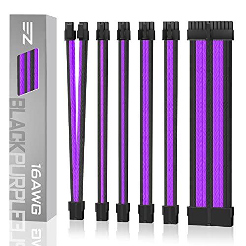 EZDIY-FAB Sleeved Cable -Kabelverlängerung für Stromversorgung mit Combs 24 Pin 8PIN 6PIN 4 + 4 Pin- Schwarz Lila
