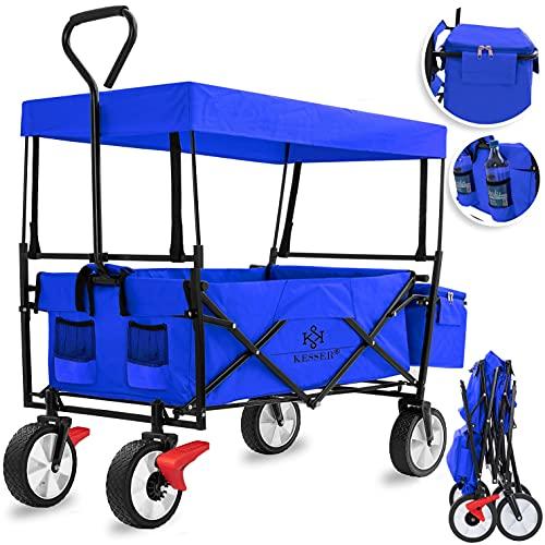 KESSER® Bollerwagen faltbar mit Dach Handwagen Transportkarre Gerätewagen inkl. 2 Netztaschen und Einer Außentasche Mit Vorderrad-Bremse | klappbar | Vollgummi-Reifen | bis 100 kg Tragkraft Blau