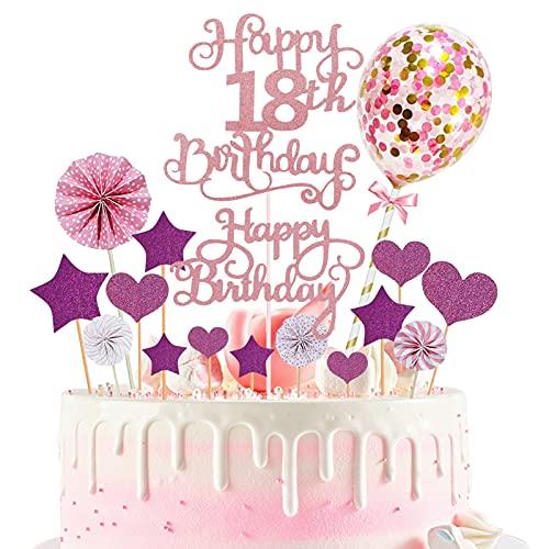 Torta Toppers de Cumpleaños Decoración, Cake Topper 17 Piezas Toppers de Pastel adorno para tarta Torta Toppers para cupcakes, postres, para fiestas de bebés, cumpleaños infantiles (Rosa)
