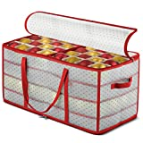 ZOBER Plastic Christmas Ornament Storage Box Large with 2-Sided Dual-Zipper Closure - Keeps 128 Holiday Ornaments, Xmas Decorations Accessories, 3' Compartments - Sturdy Flexible Plastic