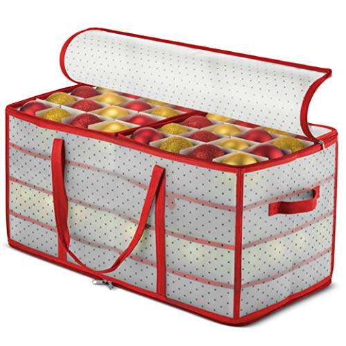 ZOBER Plastic Christmas Ornament Storage Box Large with 2Sided DualZipper Closure  Keeps 128 Holiday Ornaments Xmas Decorations Accessories 3quot Compartments  Sturdy Flexible Plastic