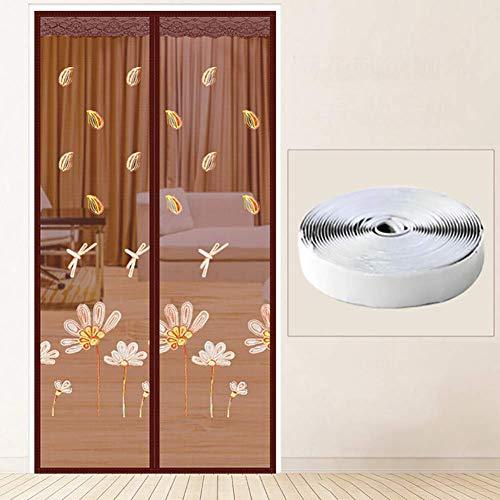 Magnetische Fliegengitter Tür Blume Libelle Moskitonetz Gestickter Fliegengitter Vorhang mit Magic Tape Anti-Pest-Braun 85x200cm/33.4x78.7inch